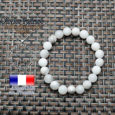 Bracelet agate grise naturelle et boule strass unie argent 925