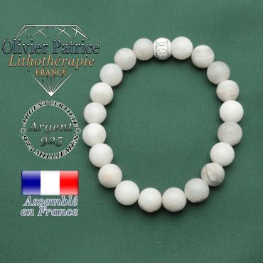Bracelet symbole des JO gravés en argent 925 strass et pierre naturelle d'agate grise