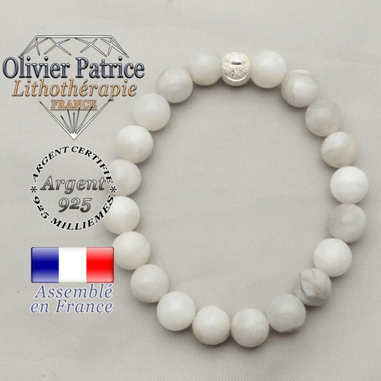 Bracelet sourire smiley strass argent 925 et agate grise naturelle
