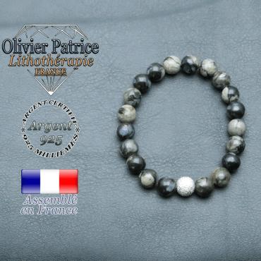 Bracelet naturel opale grise et strass argent 925 unie
