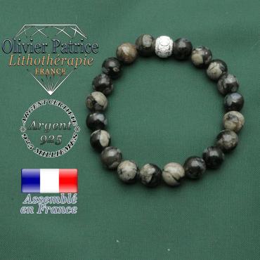 Bracelet opale grise naturelle 8 mm et strass argent 925 ronde avec anneaux des JO gravés