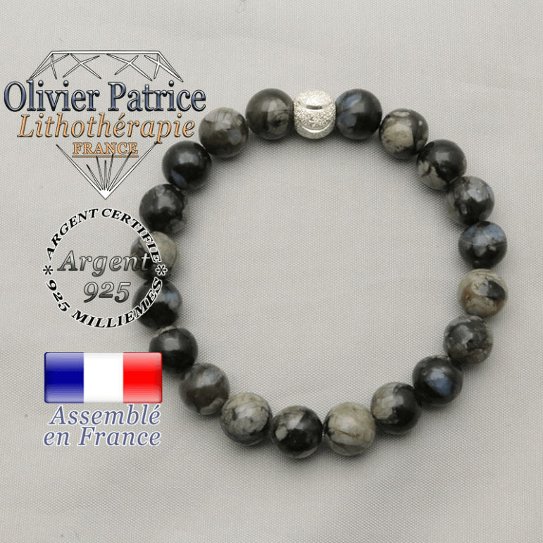 Bracelet sourire en opale grise naturelle et argent 925 strass