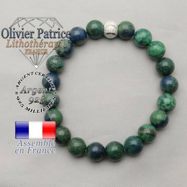 Bracelet naturel en azurite malachite et argent 925 strass brillante et ronde sourire