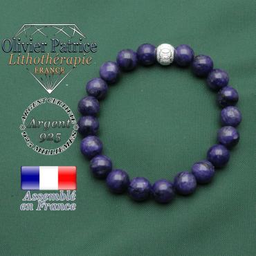 Bracelet anneaux des JO en argent 925 strass et pierres naturelles charoïte russie