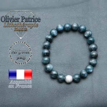 Bracelet naturel cyanite en argent 925 et strass unie ronde