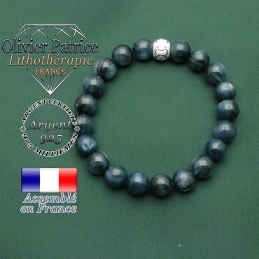 Bracelet kyanite bleue en argent 925 strass et boule anneaux des JO