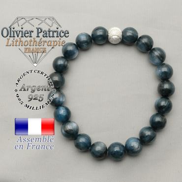 Bracelet naturel cyanite bleue et argent 925 strass sourire
