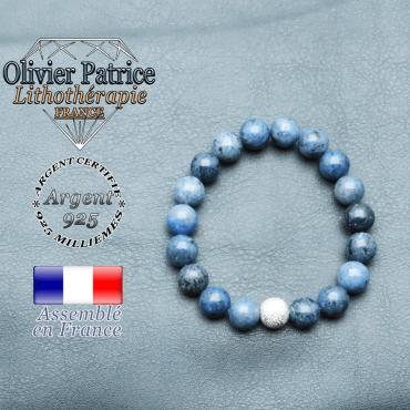 Bracelet dumortiérite naturelle et argent 925 strass unie