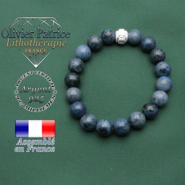Bracelet dumortiérite pierre naturelle et boule finition argent 925 et strass gravé JO