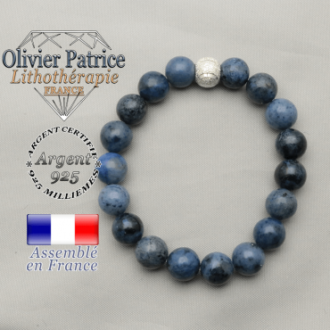 Bracelet de pierres naturelles dumortiérite et boule strass sourire argent 925