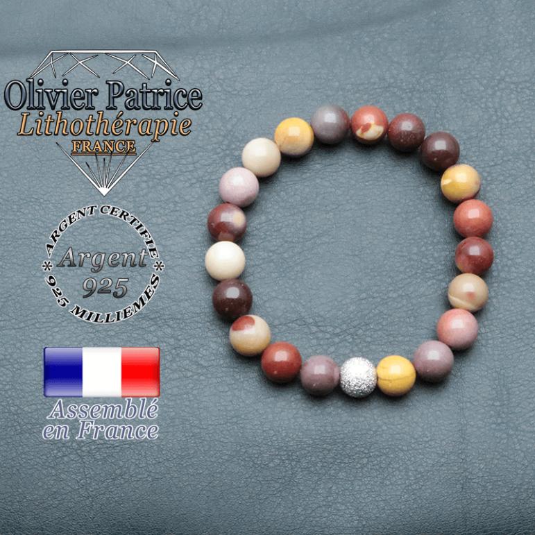 Bracelet naturel jaspe mokaïte pour le stress et les peurs avec strass brillant argent 925