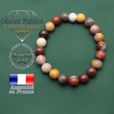 Bracelet pour personnes nerveuses en jaspe mokaite et strass brillant argent 925 anneaux JO sport gravés