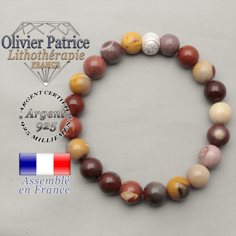 Bracelet jaspe naturel mokaite et boule brillante argent 925 sourire brillant