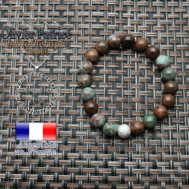 Bracelet opale verte africaine et argent strass 925 ronde brillante unie