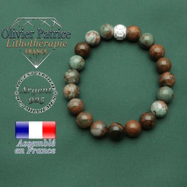 Bracelet naturelle femme opale verte africaine pour l'argent et le lâcher prise et boule strass argent 925 JO