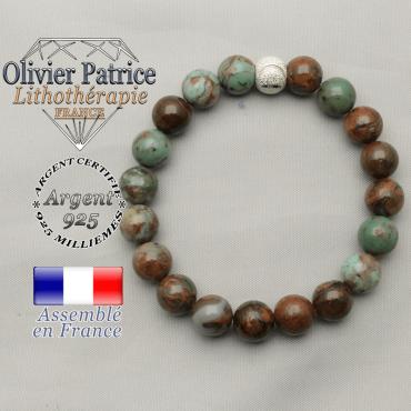 Bracelet strass sourire argent 925 et opale verte africaine pour femme