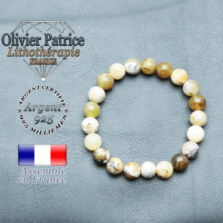 Bracelet opale jaune africaine et boule brillante en argent 925 unie