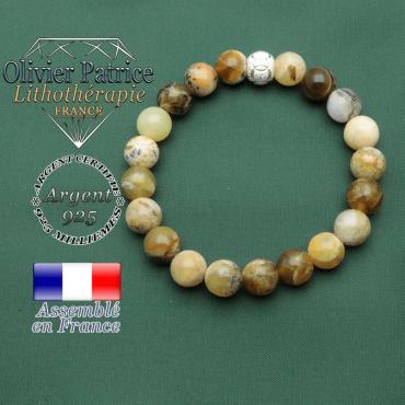Bracelet naturel pierre d'opale africaine jaune et strass brillant argent 925 anneaux des JO