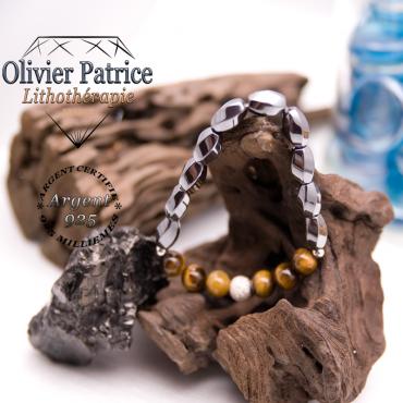 Bracelet hématite, oeil de tigre avec boule brillante en argent 925