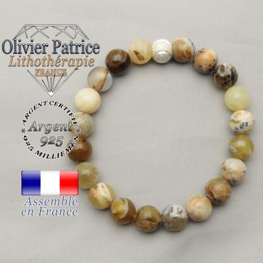 Bracelet pour femme apaisant et amour opale jaune naturelle et africaine sourire argent 925