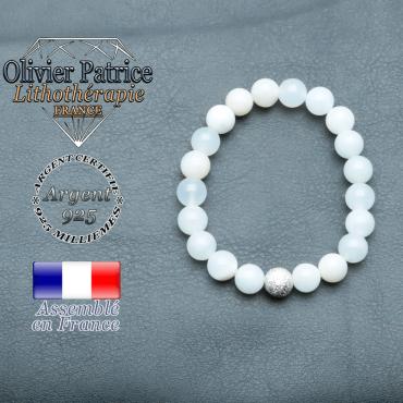 Bracelet opale verte péruvienne et boule brillante en argent 925 unie