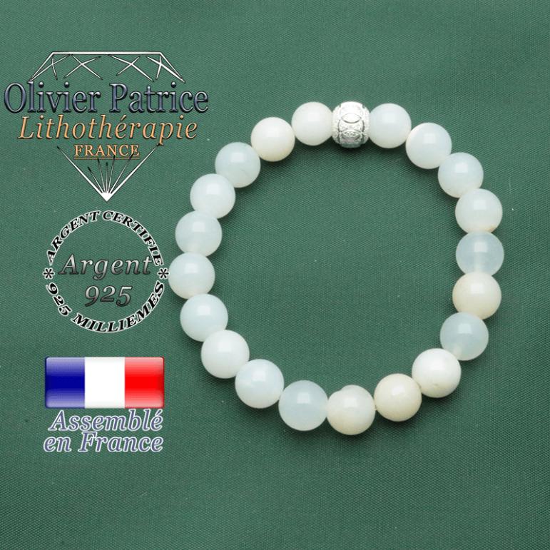 Bracelet femme opale verte péruvienne et argent 925 strass brillant anneaux