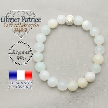 Bracelet pierre naturelle opale péruvienne et apprêt sourire argent 925 brillant