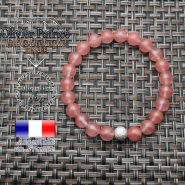 Bracelet tourmaline rose pastèque naturelle et strass unie argent 925 ronde 8 mm