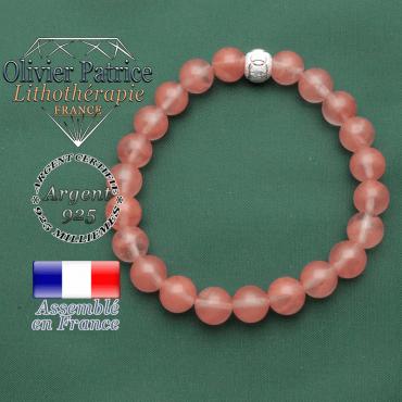 Bracelet femme tourmaline rose naturelle pastèque et anneaux argent 925 strass gravés