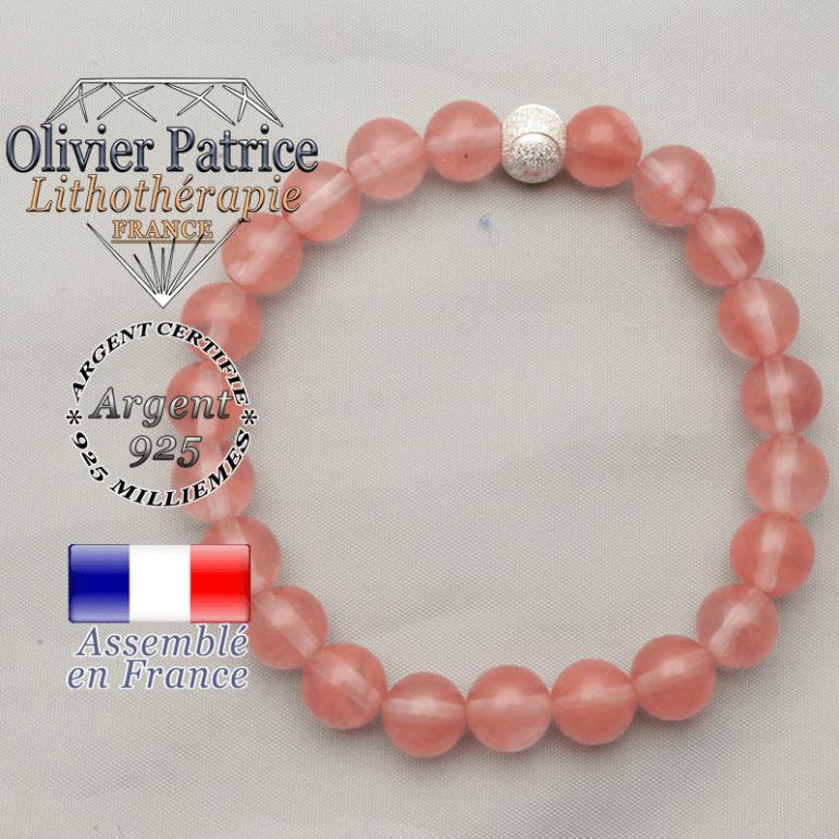 Bracelet strass argent 925 sourire ronde et pierres naturelles pastèque et rose tourmaline