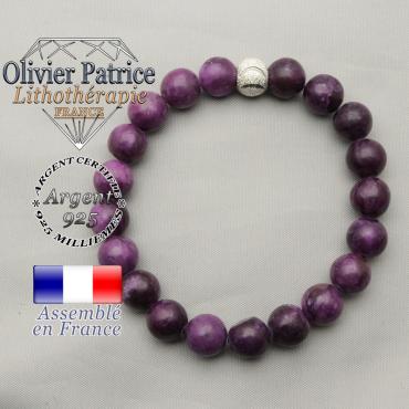 Bracelet perles naturelles en sugilite et boule sourire strass en argent 925