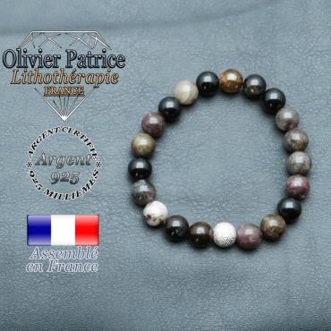 Bracelet tourmaline multicolore elbaïte naturelle et sa boule brillante en argent 925