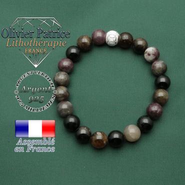 Bracelet anneaux gravés JO argent 925 et tourmaline multicolore elbaïte