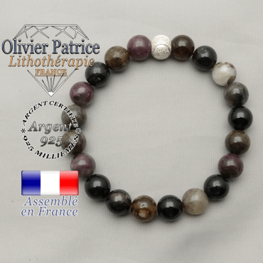 Bracelet tourmaline multicolore elbaïte pierre porte-bonheur d'amour et d'amitié finition strass sourire