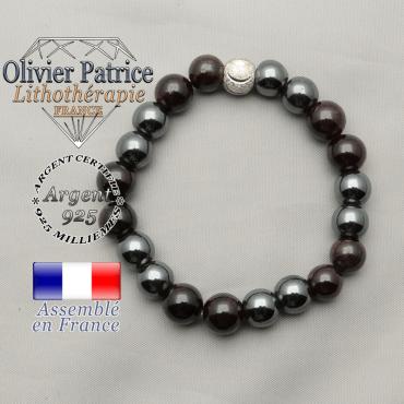 Bracelet naturel grenat et hématite contre la fatigue et le stress et boule strass sourire en argent 925