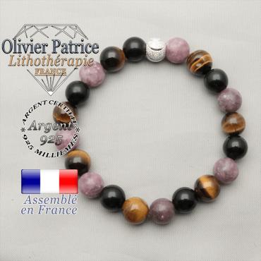 Bracelet 3 pierres de protection pour femme naturelle et boule strass sourire en argent 925