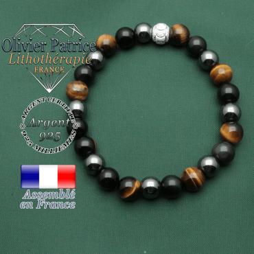 Bracelet de protection homme et boule brillante en argent 925 anneaux des JO