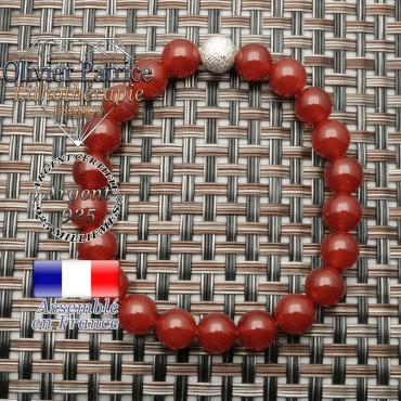 Bracelet cornaline et boule brillante en argent 925  unie