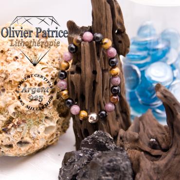Bracelet de protection 3 pierres et sa boule lisse 8 mm en argent 925