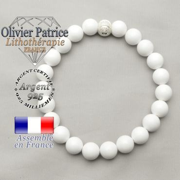 Bracelet jade naturel blanc avec boule strass sourire en argent 925