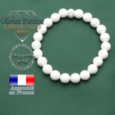 Bracelet jade blanc avec boule strass en argent 925 avec anneaux de compétitions