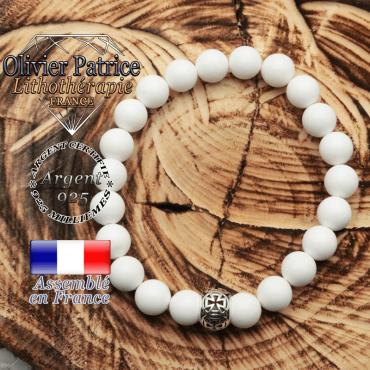 Bracelet jade blanc et boule croix templier en argent 925
