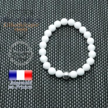 Bracelet jade blanc et sa boule de 8 mm lisse en argent 925