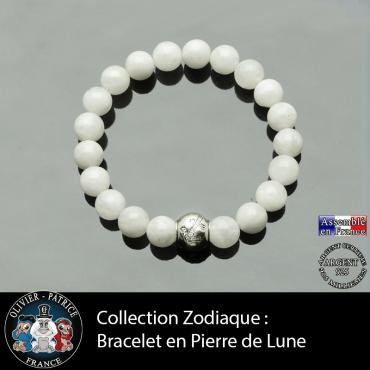 Bracelet pierre de lune et son signe astrologique boule zircon