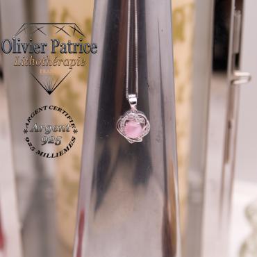 Pendentif coeurs enlacés en quartz rose et argent 925