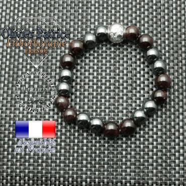 Bracelet grenat et hématite et son signe astrologique en argent 925 boule zircon
