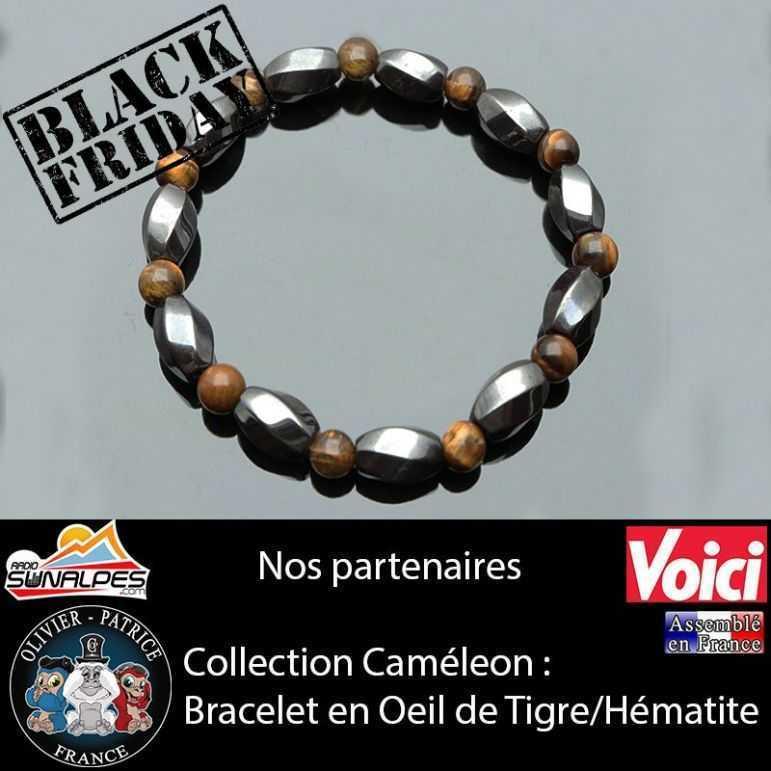 black friday -40% sur notre bracelet anti fatigue en oeil de tigre et hématite
