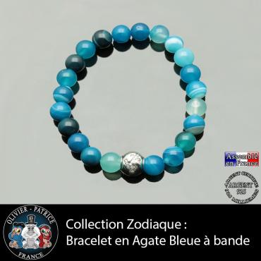 Bracelet en agate bleues à bandes et son signe astrologique boule zircon en argent 925
