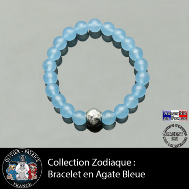 Bracelet agate bleue et son signe astrologique boule zircon en argent 925