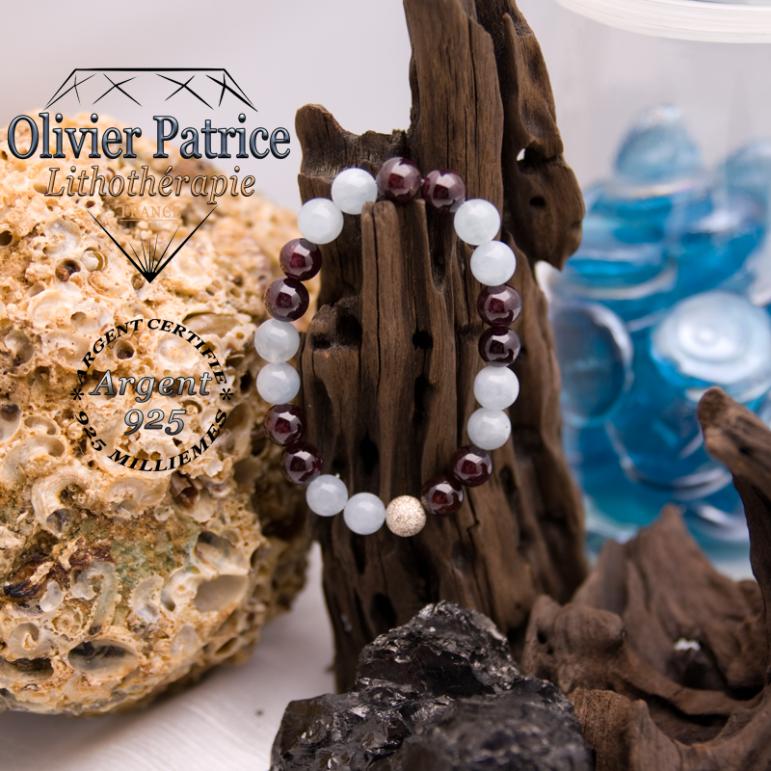 Bracelet opale grenat et boule en argent 925